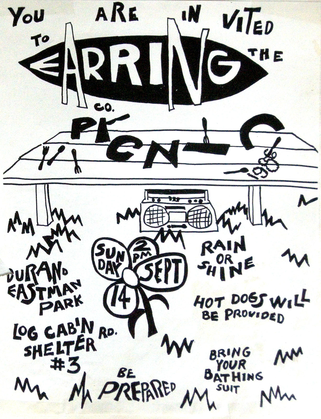 Earring Records Company Picnic invitation 1986