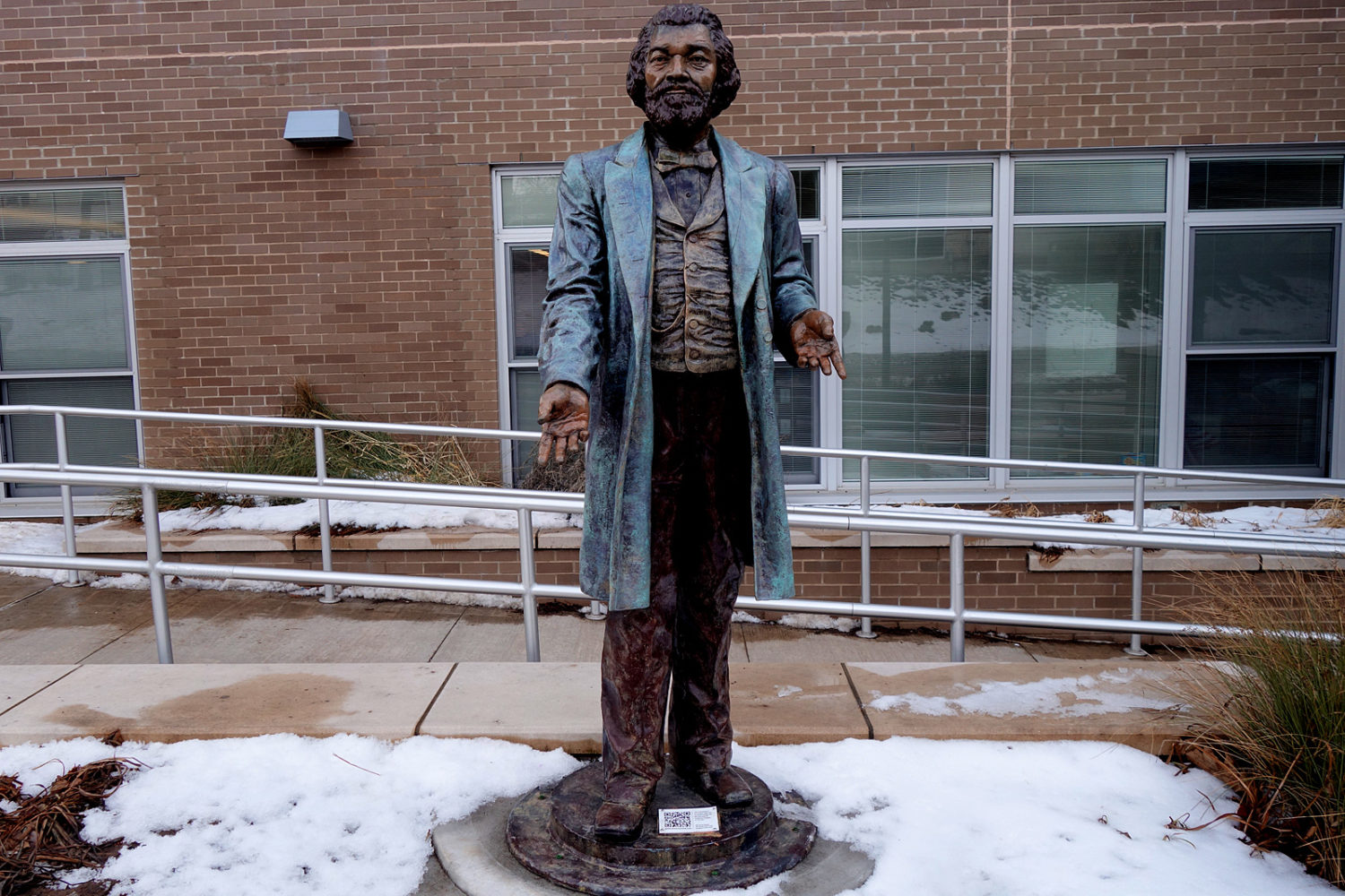 Frederick Douglas plastic statue in front of his former home on South Avenue in Rochester, New York