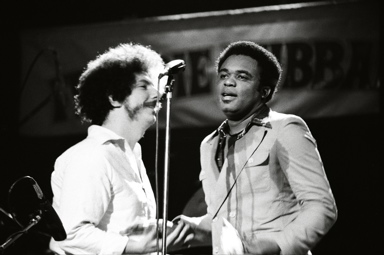 Tom Marcello photo of WHAM DJ Harry Abraham and Freddie Hubbard at the Auditorium Theater in Rochester, New York 1976.