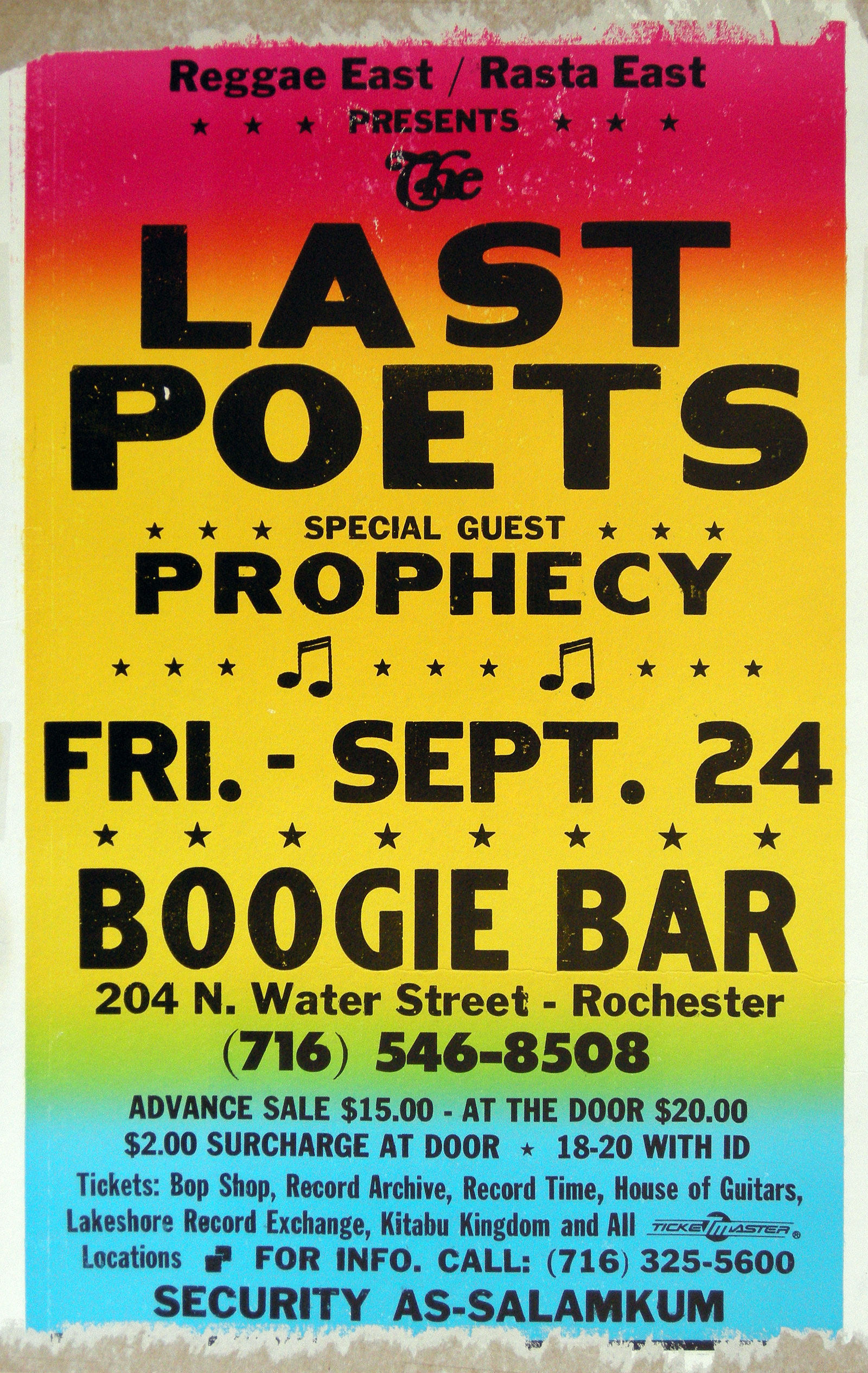 Poster for Last Poets performance at Water Street in Rochester, New York 1993