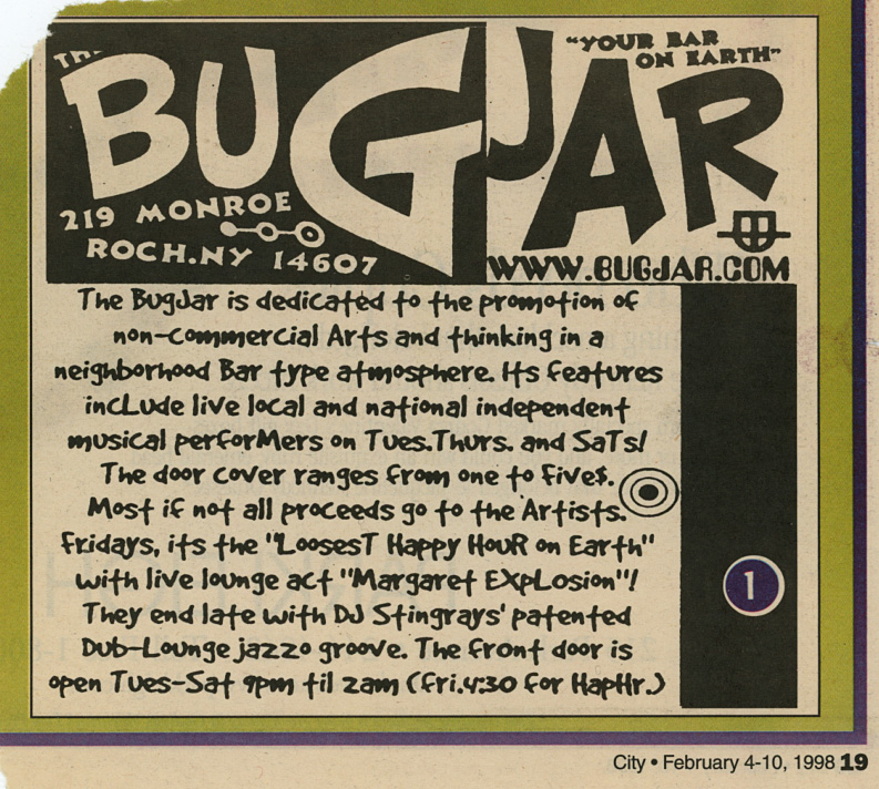 Bug Jar ad for Margaret Explosion Happy Hour February 1998