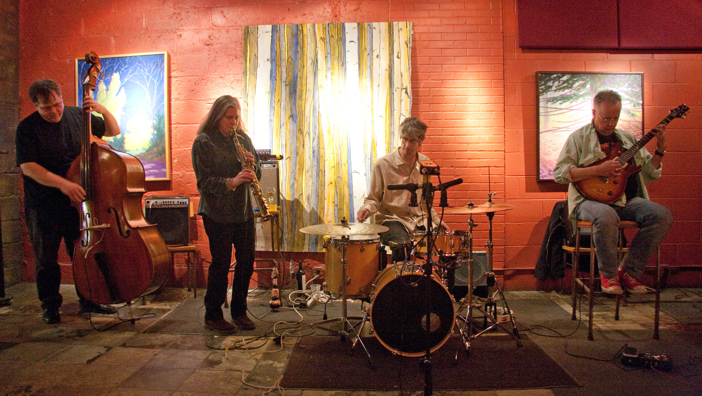 Margaret Explosion performing at the Little Theatre Café
