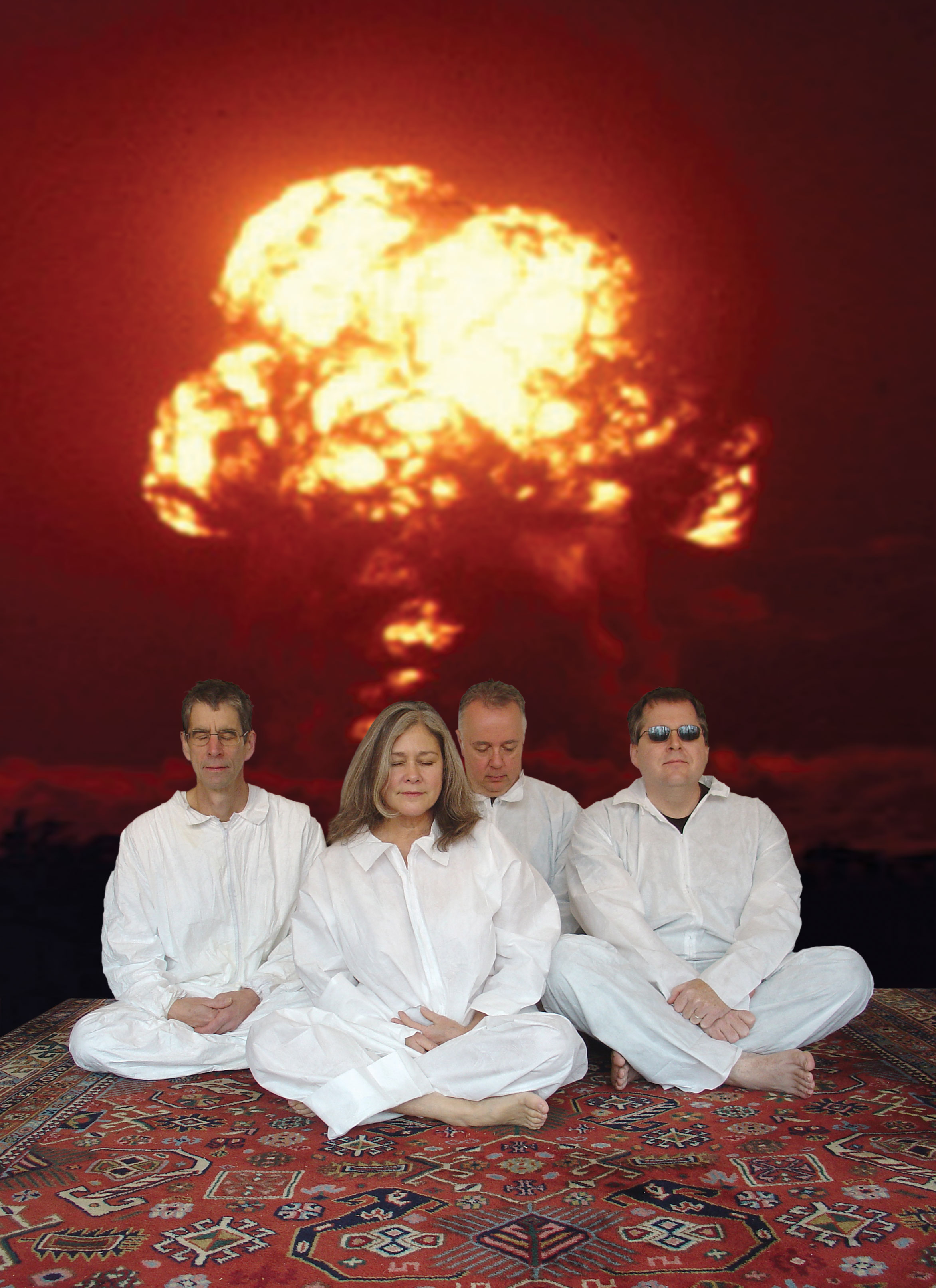 Margaret Explosion promo photo in front of mushroom cloud