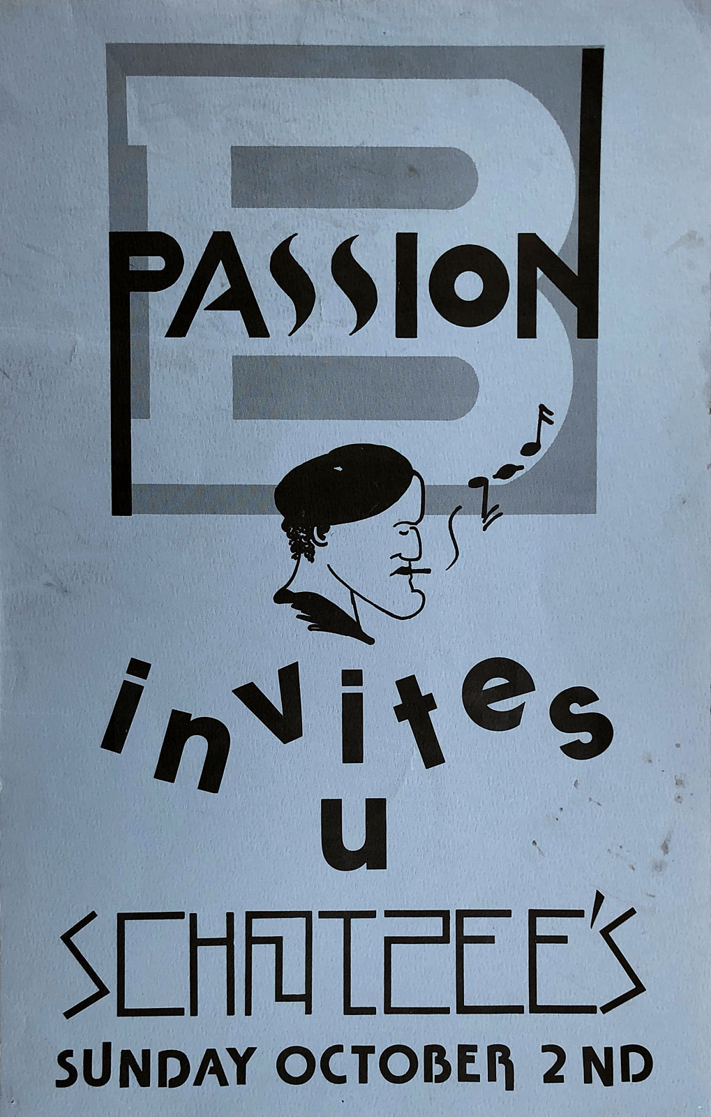 Tim Dodd poster for Passion B performance at Scorgie's in Rochester, New York 10.02.1984