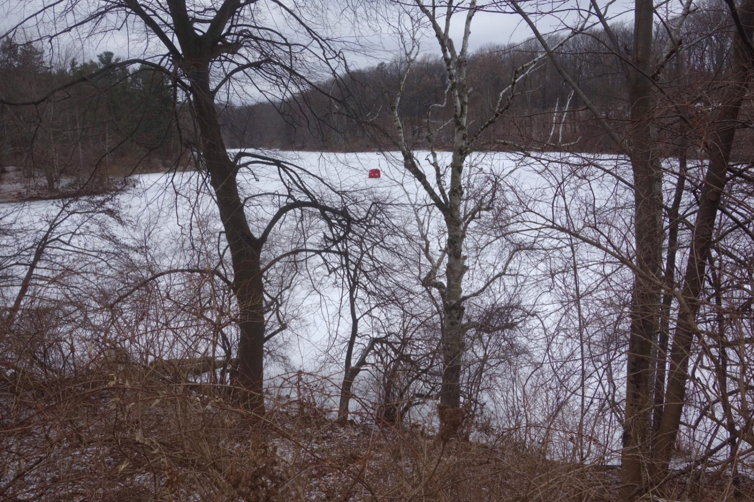 Red ice-fishing tent on Durand Lake in Rochester, New York