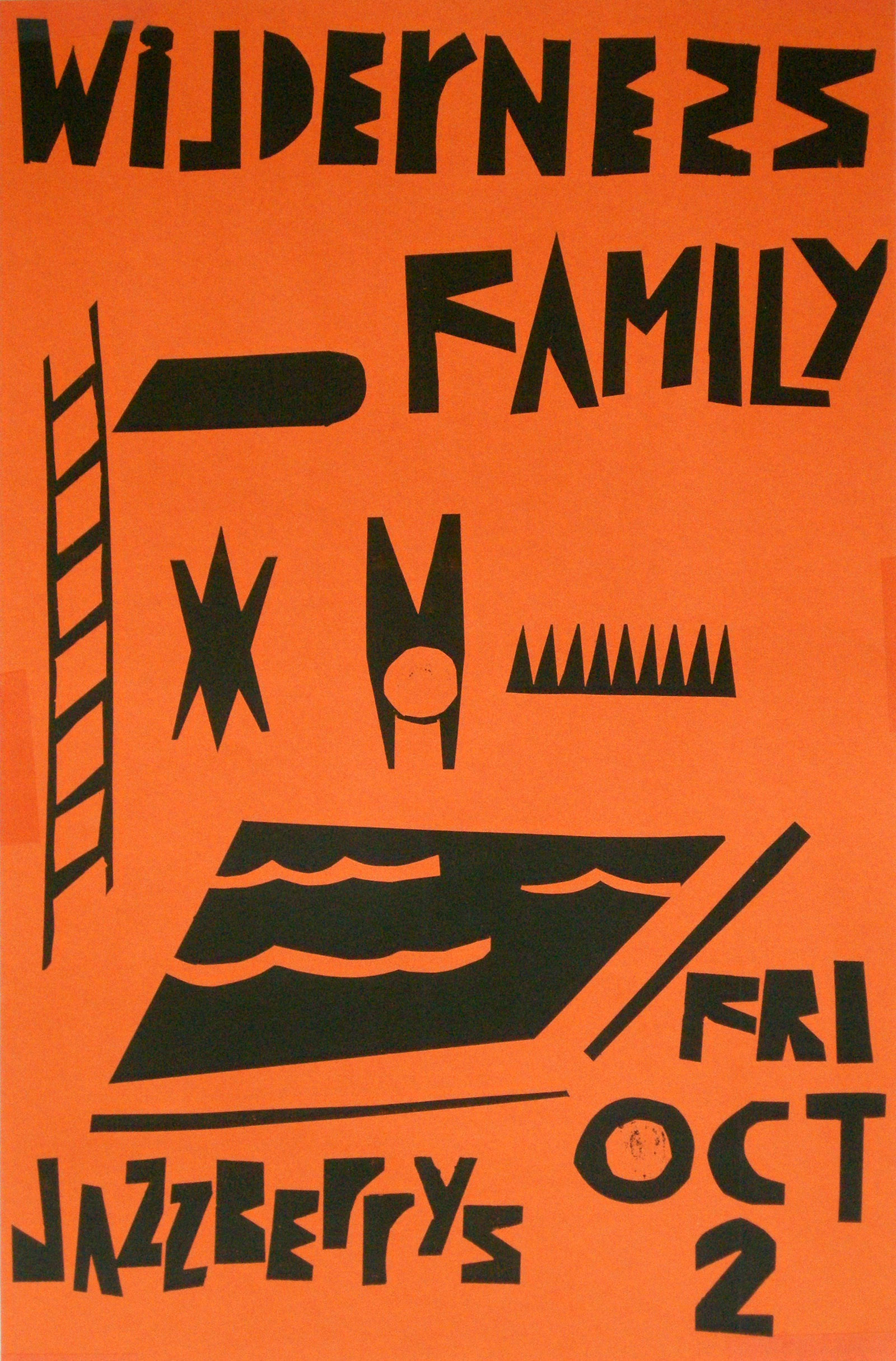Wilderness Family poster by Gary Miexner for performance at Jazzberys in Rochester, New York 1987