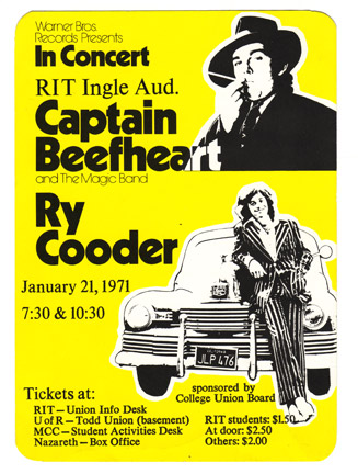 Captain Beefheart flyer for performance at RIT Ingle Auditorium in Rochester, New York with Ry Cooder in 1971.