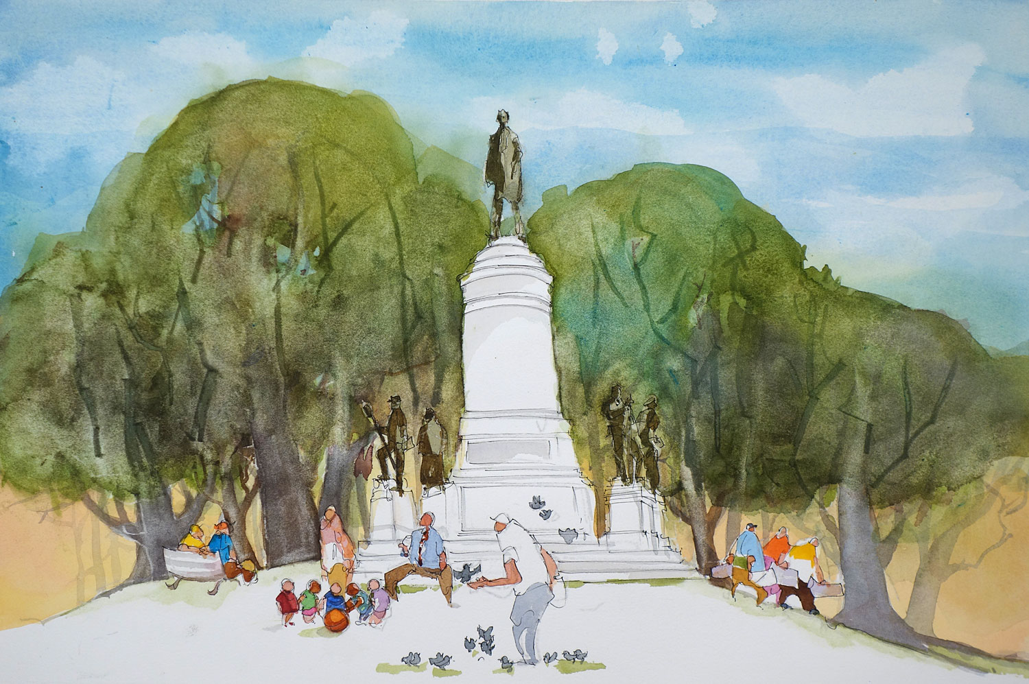Leo Dodd watercolor Statue of Abraham Lincoln in Washington Square Park, Rochester, New York