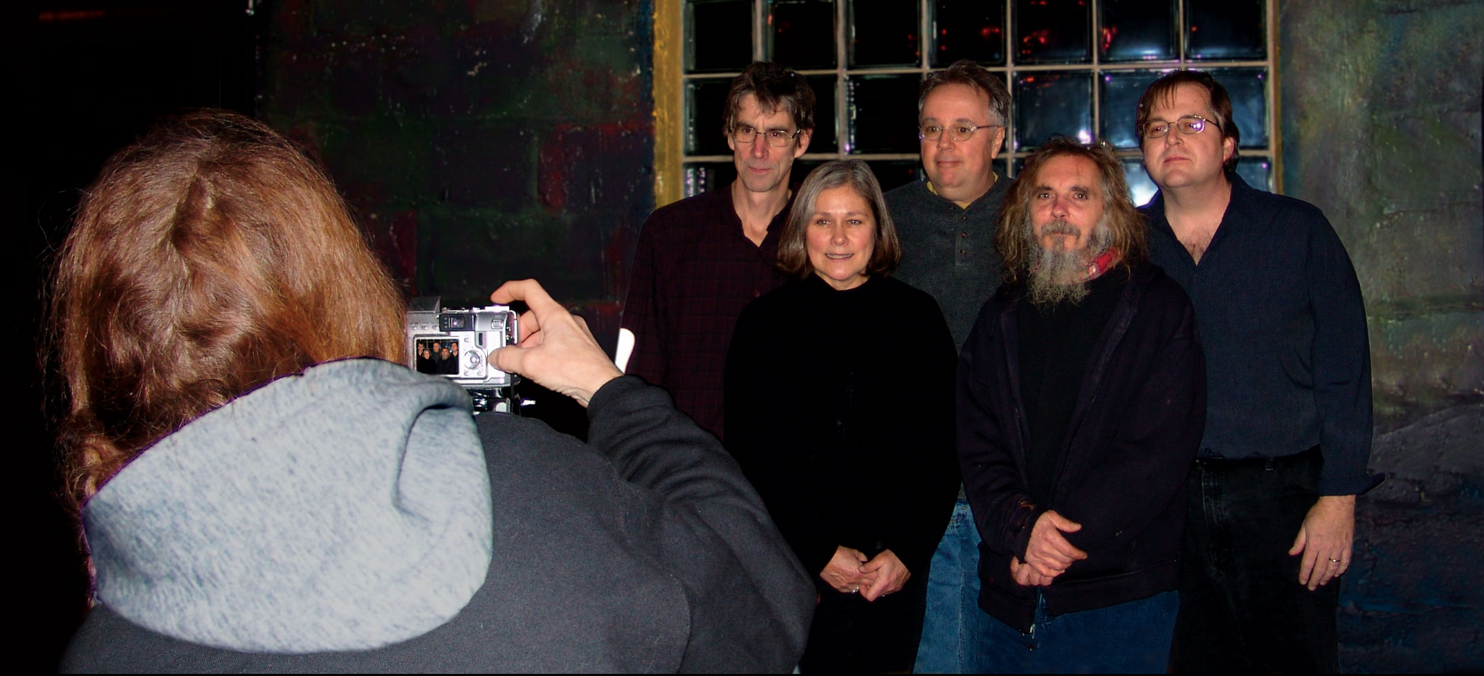 Shelley Valchovic takes promo shot of Margaret Explosion with Pete LaBonne at Little Theatre Café.
