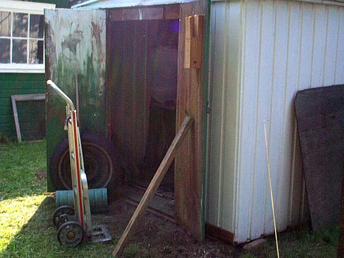 Doors propped open on Sparky's shed. Invisible Idiot named one its songs after Sparky's shed.