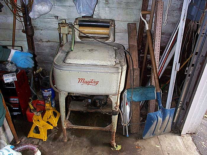 Sparky used this hand crank Maytag washer to wash his work gloves.