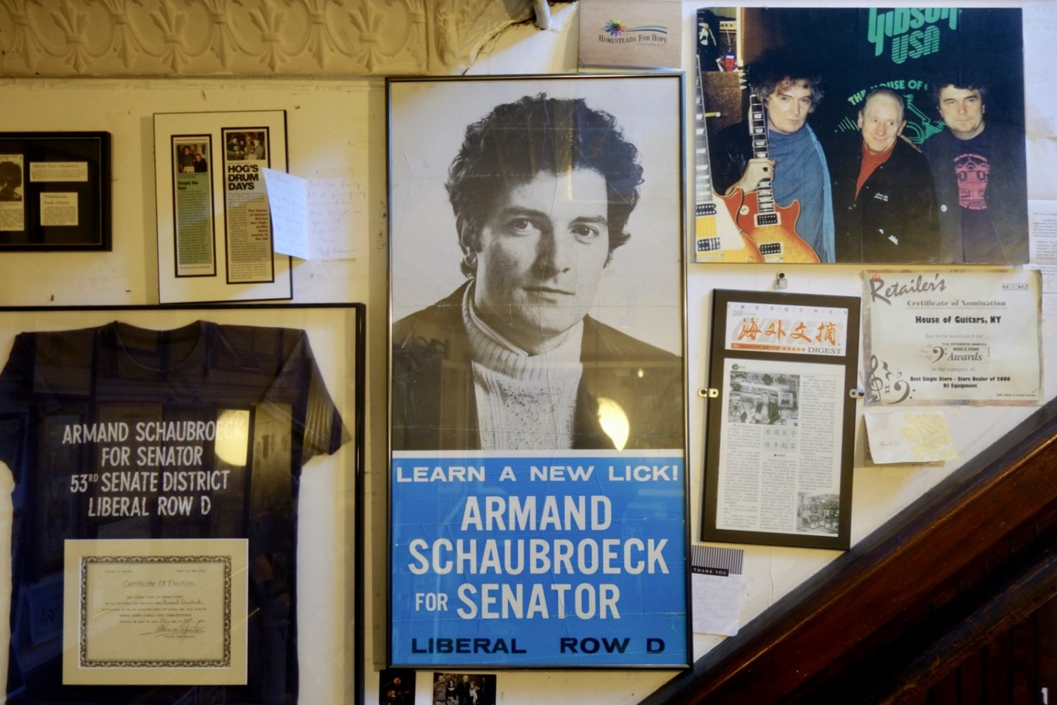 Armand Schaubroeck For State Senate poster at House of Guitars in Rochester, New York
