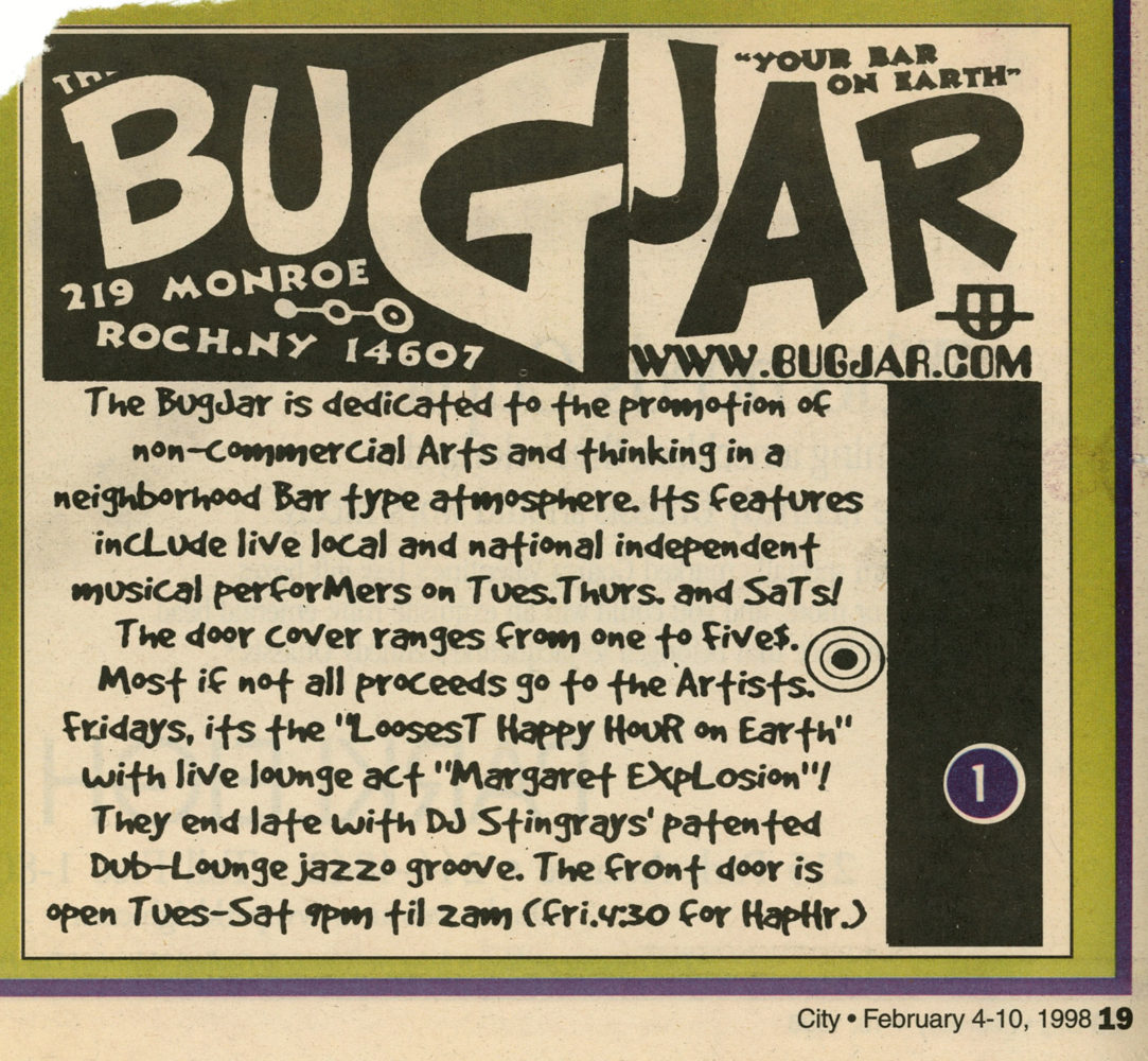 City Newspaper ad for the Bug Jar featuring Margaret Explosion Fedruary 1997