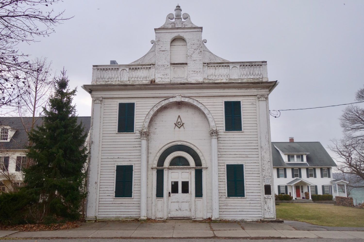 Masonic building on Main Street in Aurora, New York