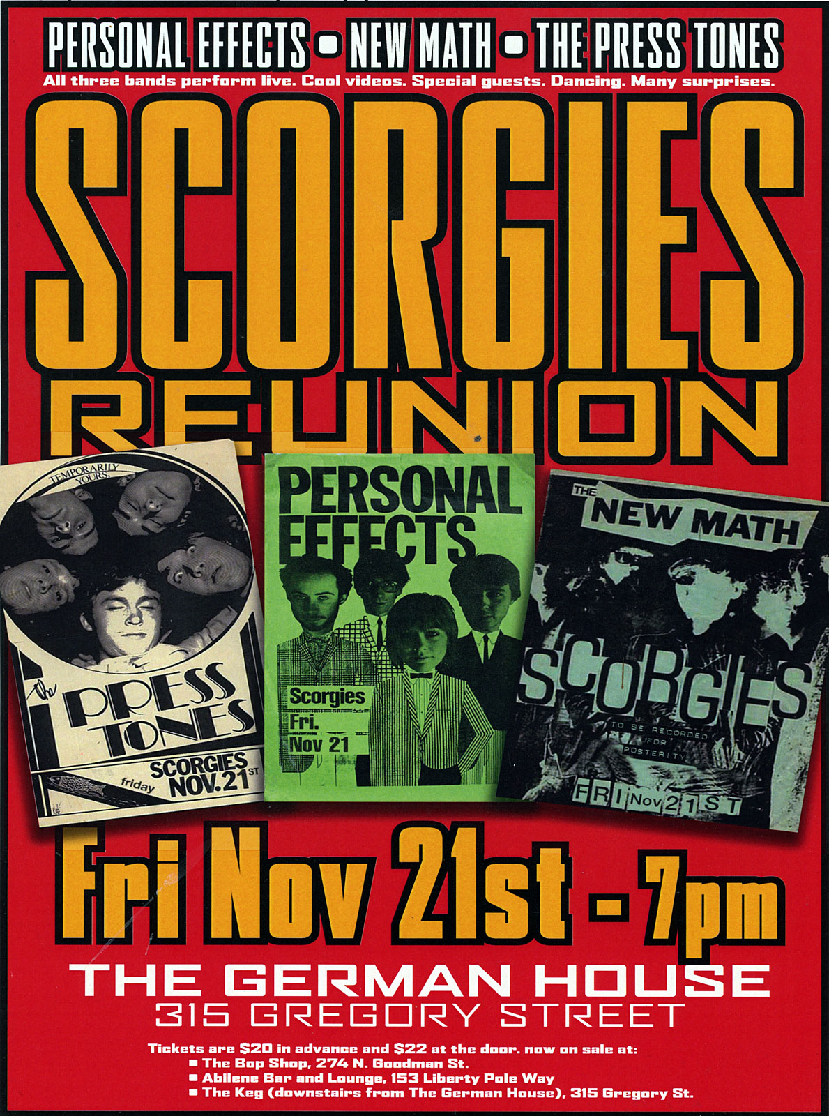 Poster for Scorgie's Reunion Concert at the German House in Rochester, New York in 2008. Show featured The Presstones, New Math and Personal Effects.