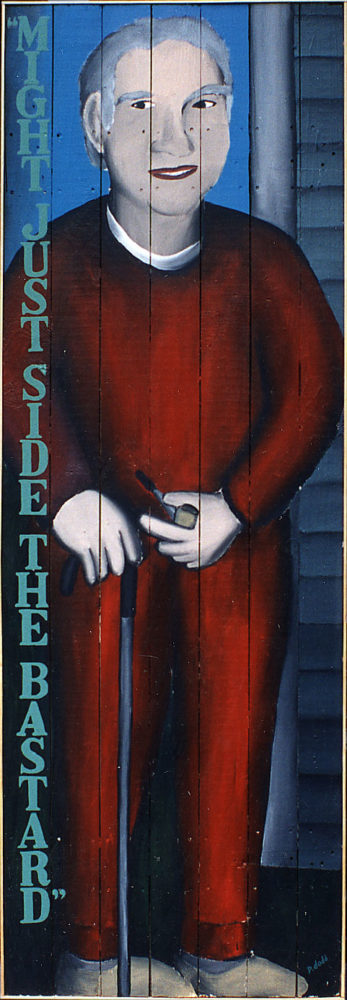 """Might Just Side The Bastard"" - Sparky painting by Paul Dodd. ""Sparky Goes To A Gig"" - Sparky painting by Paul Dodd. House Paint on Wood 24""w x 70""h 1992"