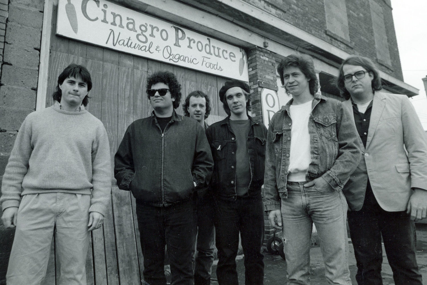 Colorblind James Experience promo photo at Public Market in Rochester, New York. Dave McIntire, Chuck Cuminale, John Ebert, Phil Marshall and Jim McAvaney.