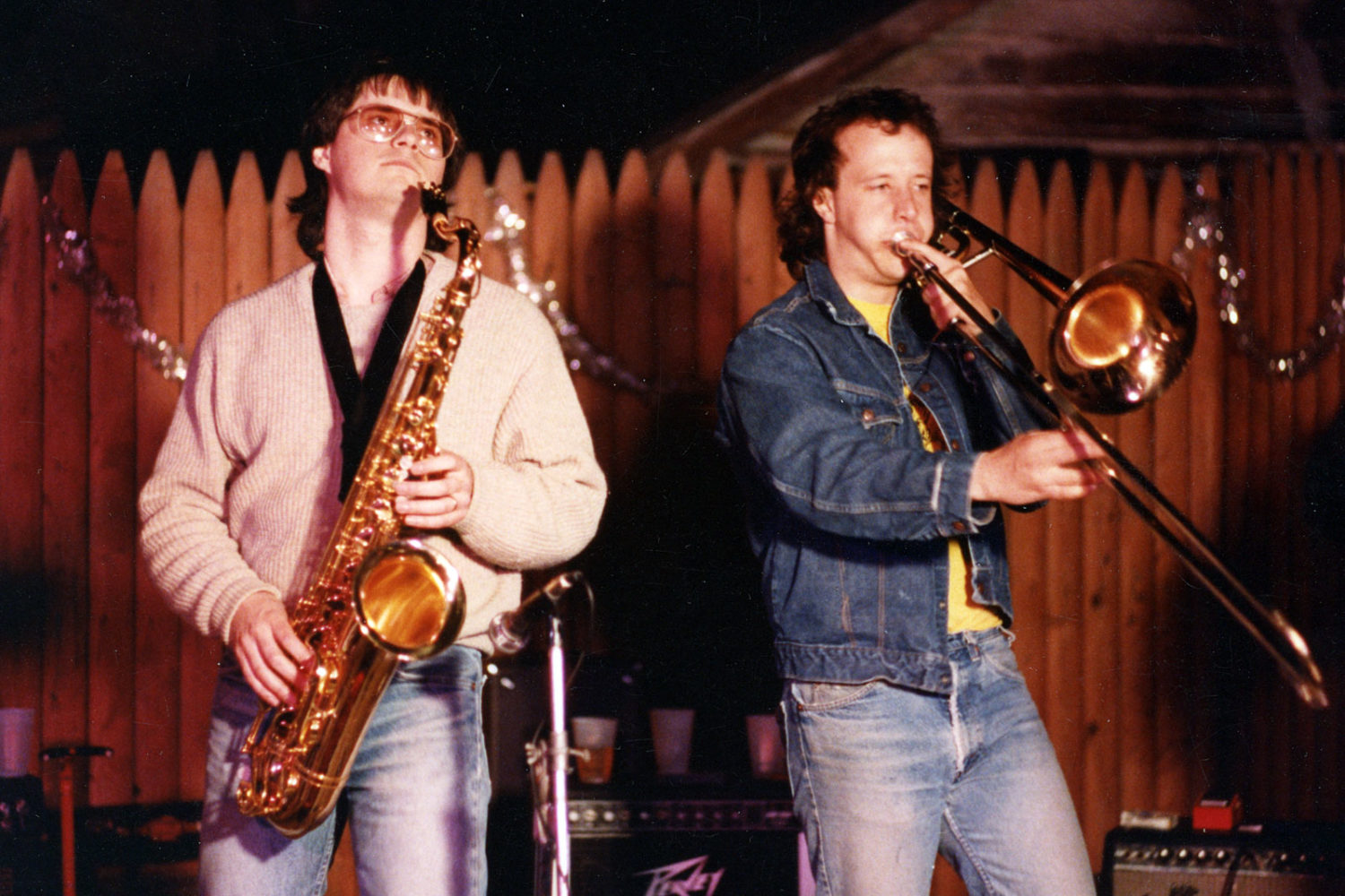 Dave McIntire and John Ebert playing horns with The Colorblind James Experience. Photo by Gary Brandt.