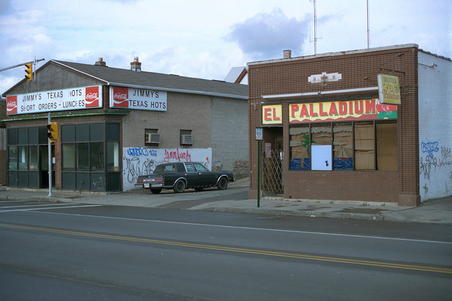 "07. El Palladium, East Main Street, Rochester. Source photo for Paul Dodd ""Passion Play"" 1999."