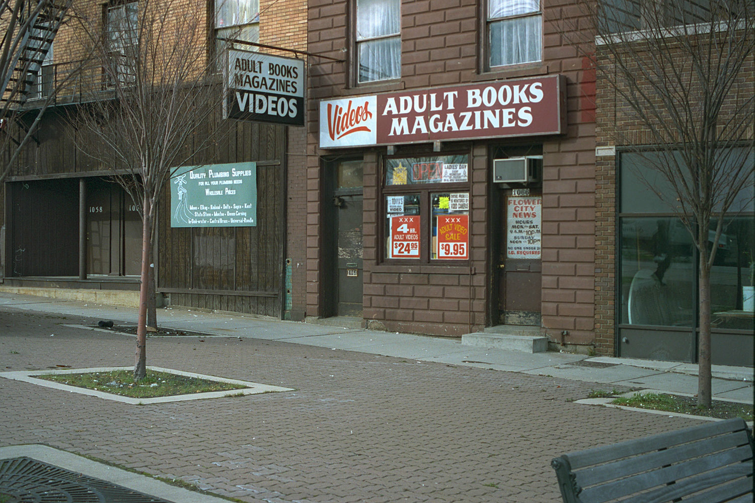 "14. Adult Books, East Main Street, Rochester. Source photo for Paul Dodd ""Passion Play"" 1999."