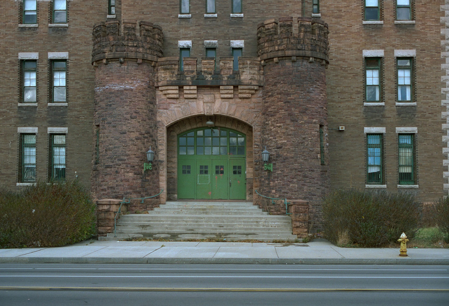 "16. Armory, East Main Street, Rochester. Source photo for Paul Dodd ""Passion Play"" 1999."