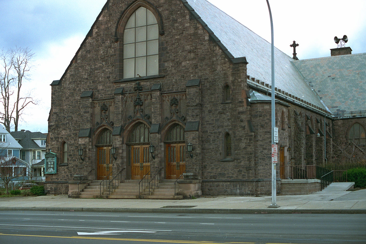 "18. Corpus Christi Church, East Main Street, Rochester. Source photo for Paul Dodd ""Passion Play"" 1999."