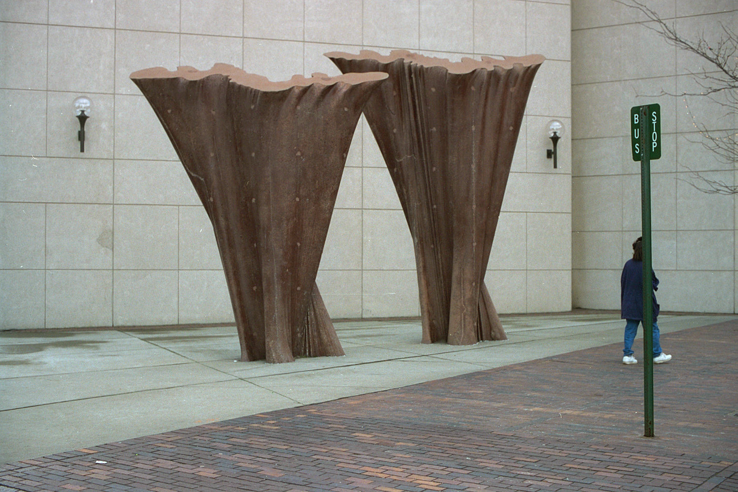 "28. Sculpture by Parking Garage, East Main Street, Rochester. Source photo for Paul Dodd ""Passion Play"" 1999."