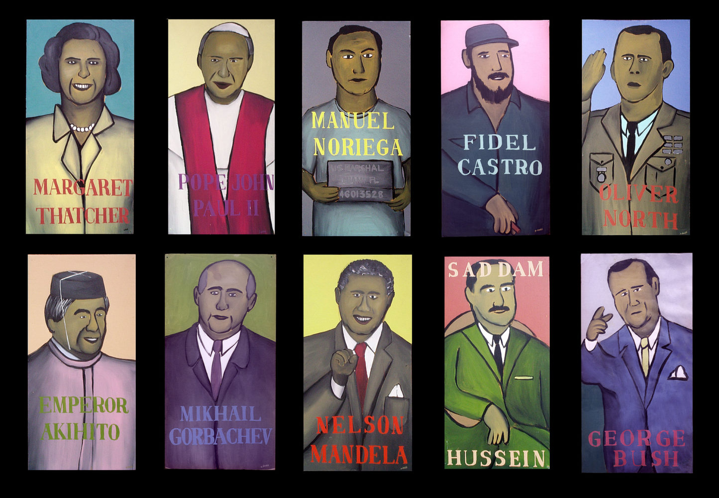 "10 World Leaders 1987 Acrylic house paint on cardboard, 22""w by 40""h each"