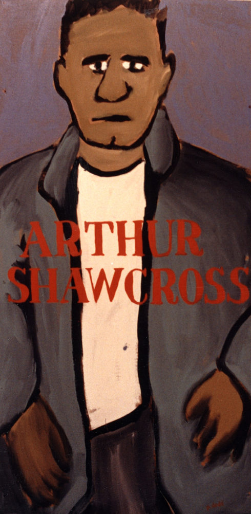 "Arthur Shawcross painting by Paul Dodd. Acrylic paint on cardboard, 22""w by 40""h, 1989"