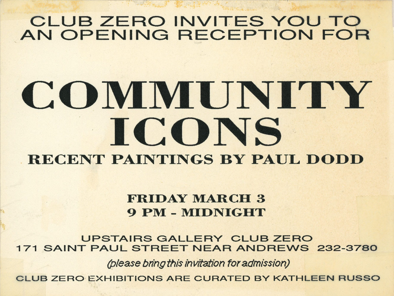 Community Icons iInvitation to show of Paul Dodd paintings at Club Zero in Rochester, New York 1989