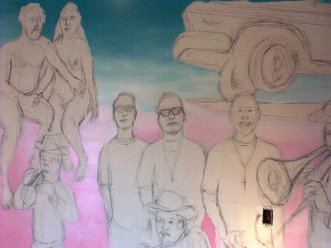 Gang drawing, since deleted from Mex Restaurant Mural by Paul Dodd, in progress, 1999.