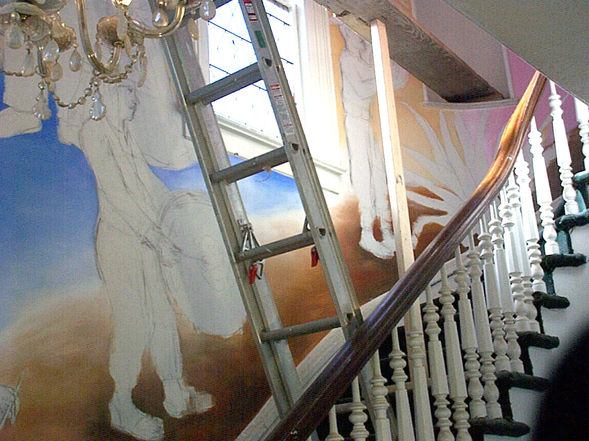 Stairway section of Mex Restaurant Mural by Paul Dodd, in progress, 1999.