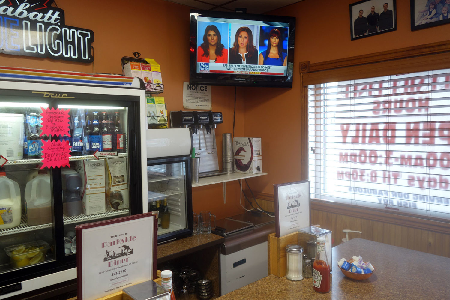 Fox News on without the sound in Park Side Diner, Rochester, New York