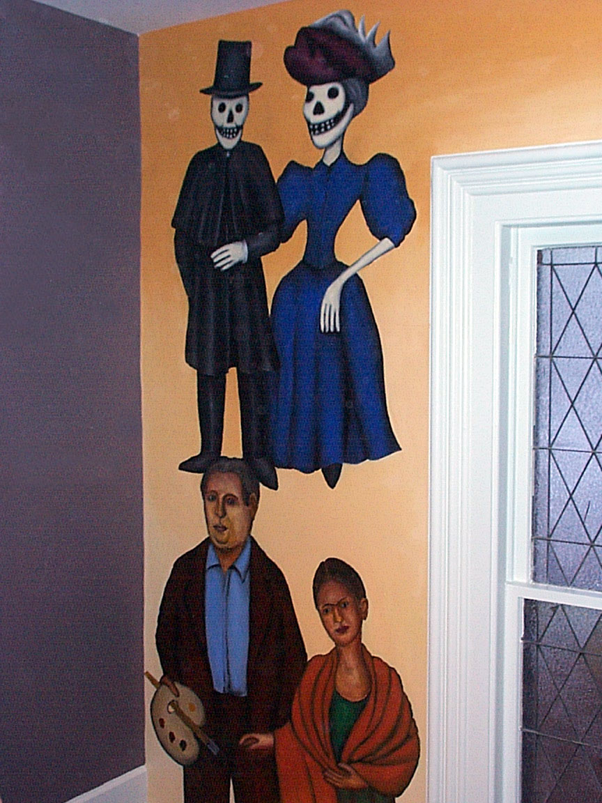 Diego Rivera, Frida Kahlo, Day of the Dead figures detail of Mex Restaurant Mural by Paul Dodd, in progress, 1999.