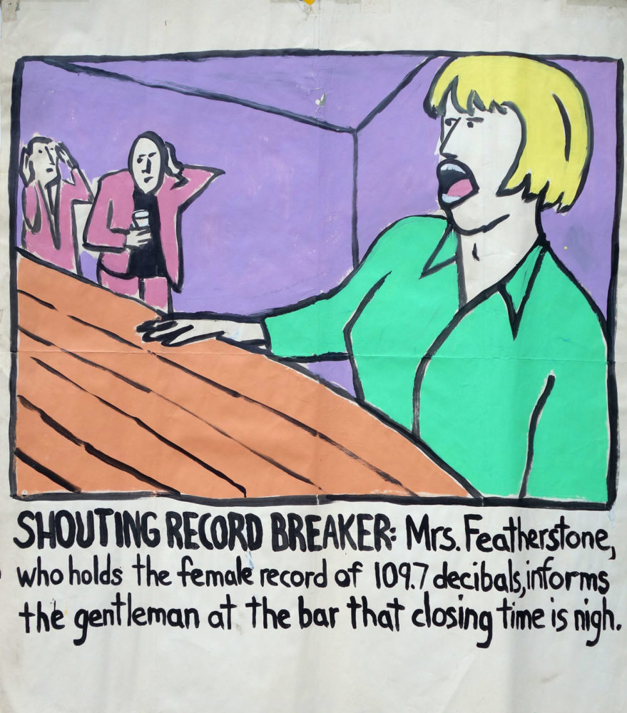 """Shouting Record Breaker"" Guinness World Record Holders by Paul Dodd. Paintings from 1989 Pyramid Arts Center show. Acrylic house paint on billboard paper, 54"" wide by ""60"" high."