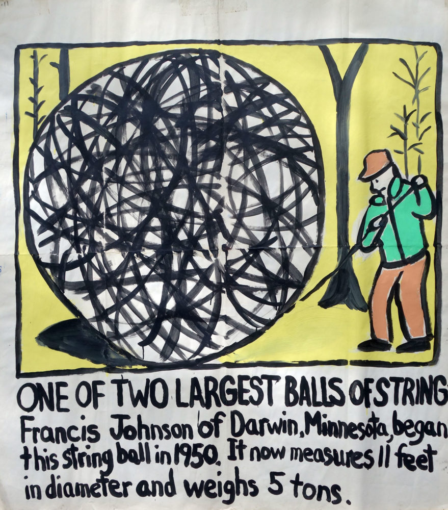 """Largest Ball of String"" Guinness World Record Holders by Paul Dodd. Paintings from 1989 Pyramid Arts Center show. Acrylic house paint on billboard paper, 54"" wide by ""60"" high."