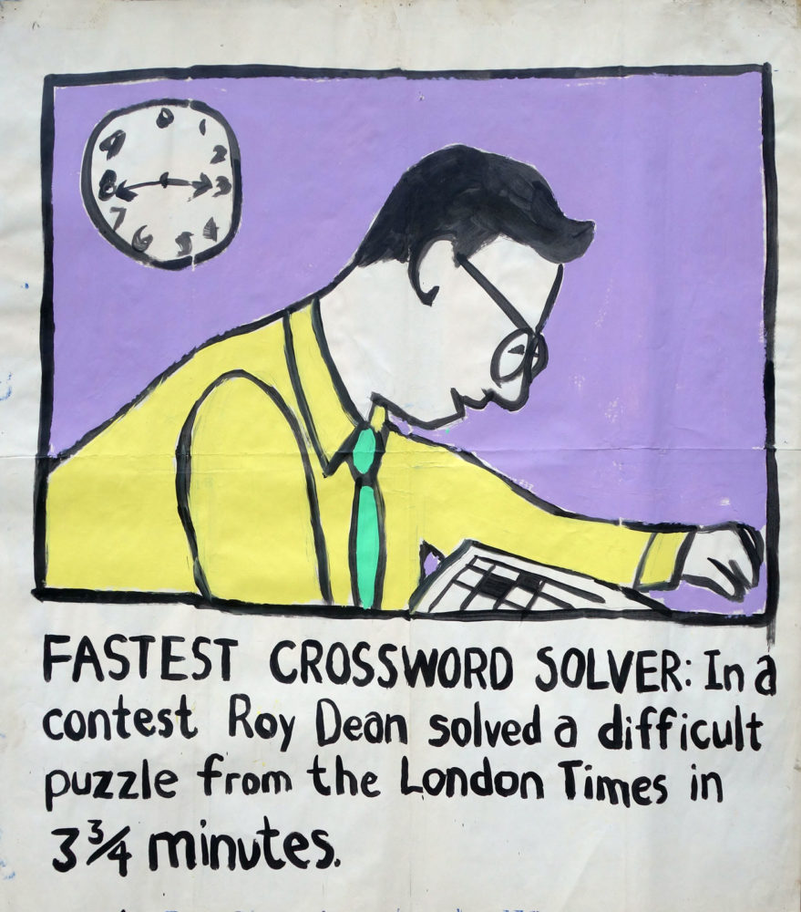 """Fastest Crossword Solver"" Guinness World Record Holders by Paul Dodd. Paintings from 1989 Pyramid Arts Center show. Acrylic house paint on billboard paper, 54"" wide by ""60"" high."