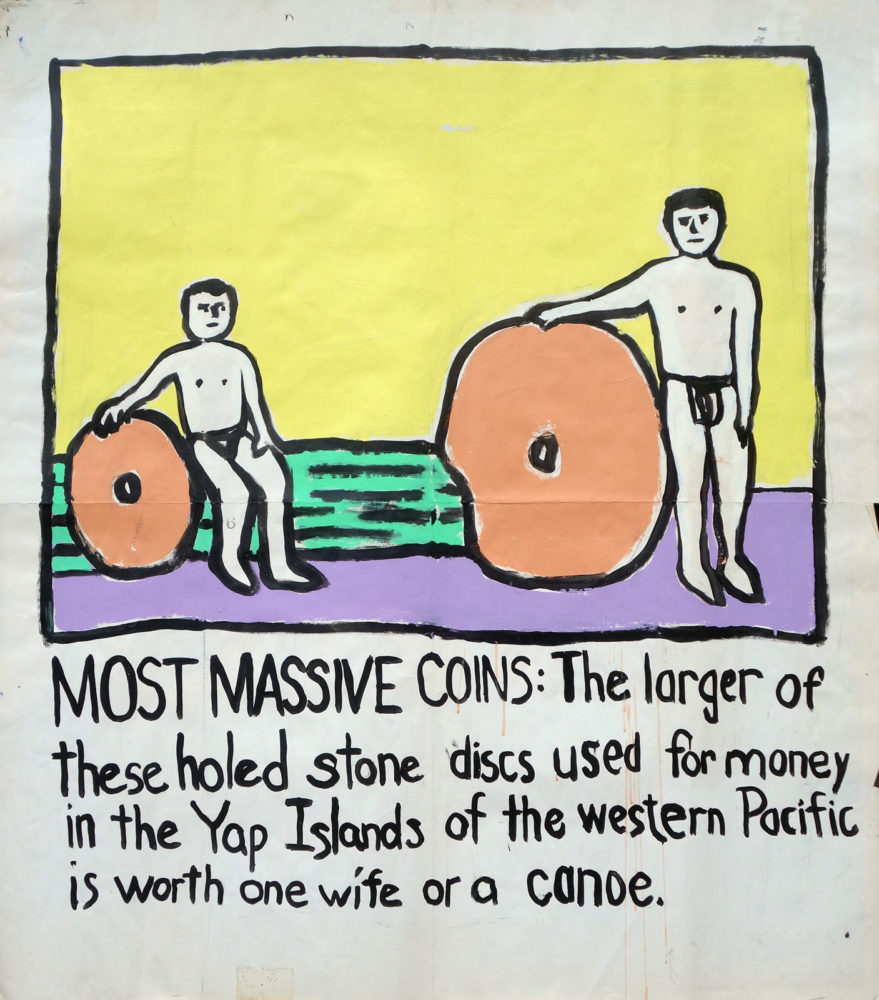 """Most Massive Coins"" Guinness World Record Holders by Paul Dodd. Paintings from 1989 Pyramid Arts Center show. Acrylic house paint on billboard paper, 54"" wide by ""60"" high."