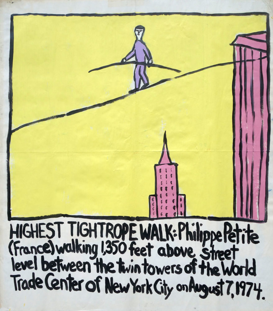 """Highest Tightrope Walk"" Guinness World Record Holders by Paul Dodd. Paintings from 1989 Pyramid Arts Center show. Acrylic house paint on billboard paper, 54"" wide by ""60"" high."