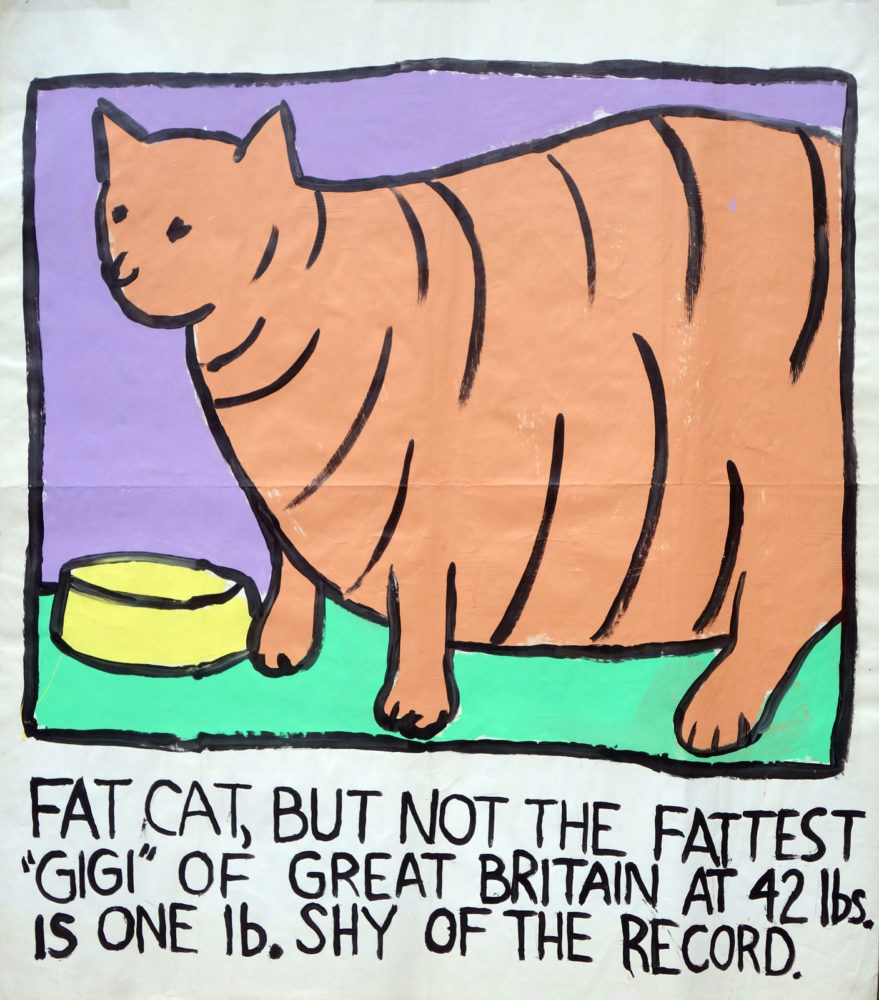 """Fattest Cat"" Guinness World Record Holders by Paul Dodd. Paintings from 1989 Pyramid Arts Center show. Acrylic house paint on billboard paper, 54"" wide by ""60"" high."