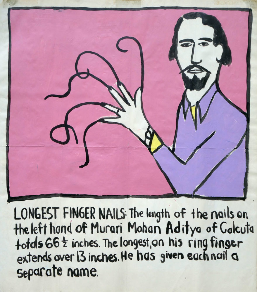 """Longest Fingernails"" Guinness World Record Holders by Paul Dodd. Paintings from 1989 Pyramid Arts Center show. Acrylic house paint on billboard paper, 54"" wide by ""60"" high."