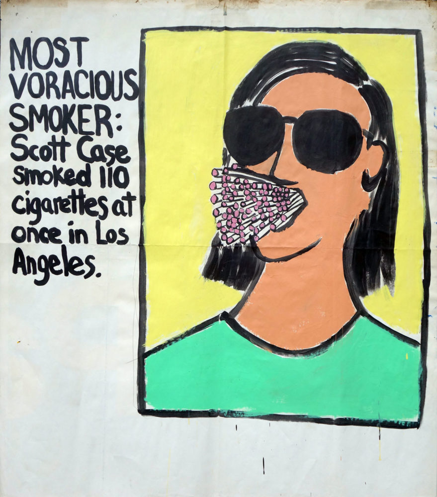 """Most Voracious Smoker"" Guinness World Record Holders by Paul Dodd. Paintings from 1989 Pyramid Arts Center show. Acrylic house paint on billboard paper, 54"" wide by ""60"" high."