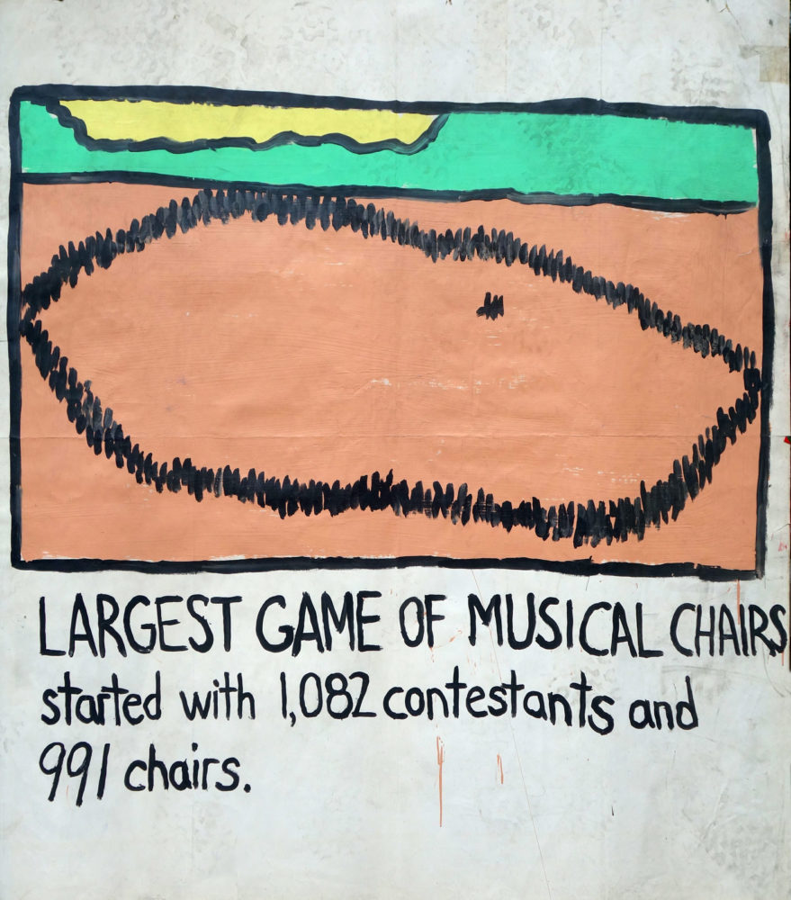 """Largest Game of Musical Chairs"" Guinness World Record Holders by Paul Dodd. Paintings from 1989 Pyramid Arts Center show. Acrylic house paint on billboard paper, 54"" wide by ""60"" high."