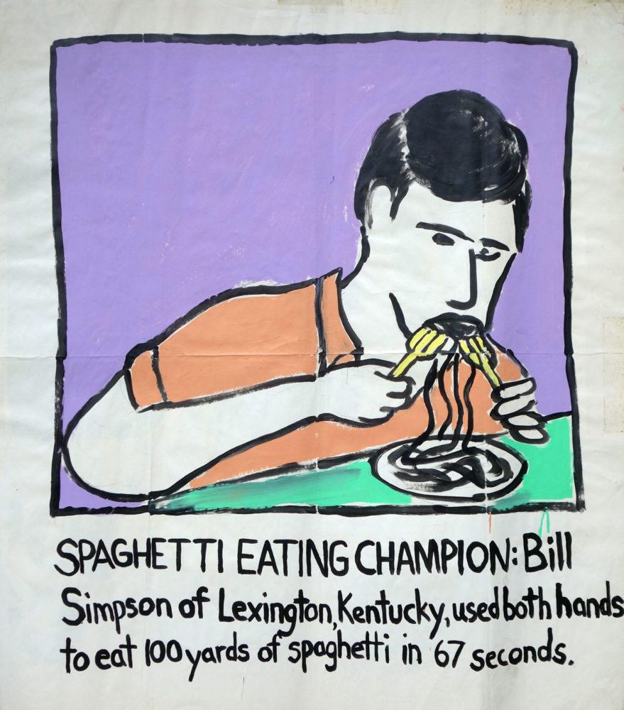 """Spaghetti Eating Champion"" Guinness World Record Holders by Paul Dodd. Paintings from 1989 Pyramid Arts Center show. Acrylic house paint on billboard paper, 54"" wide by ""60"" high."