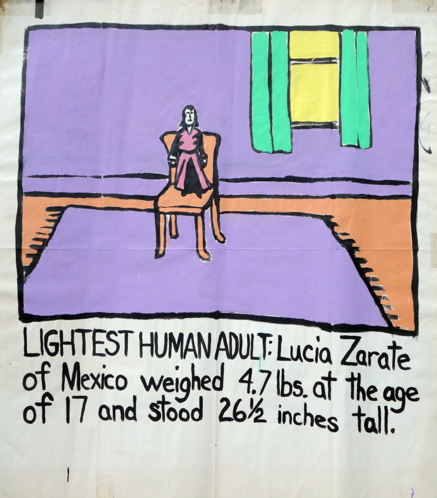 """Lightest Human Adult"" Guinness World Record Holders by Paul Dodd. Paintings from 1989 Pyramid Arts Center show. Acrylic house paint on billboard paper, 54"" wide by ""60"" high."