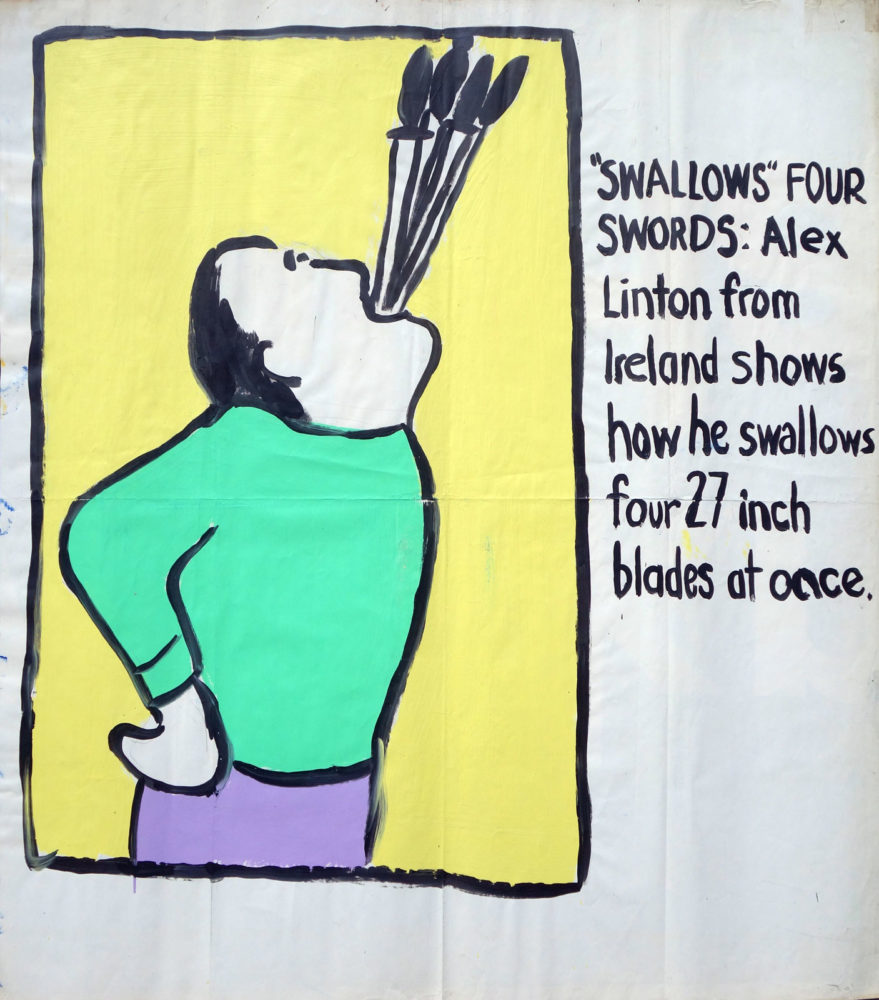 """Sword Swallowing"" Guinness World Record Holders by Paul Dodd. Paintings from 1989 Pyramid Arts Center show. Acrylic house paint on billboard paper, 54"" wide by ""60"" high."