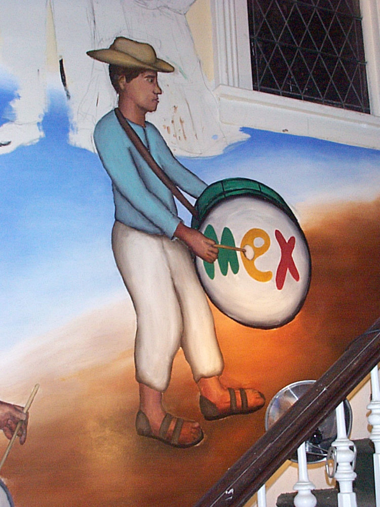 Drummer detail of Mex Restaurant Mural by Paul Dodd, in progress, 1999.