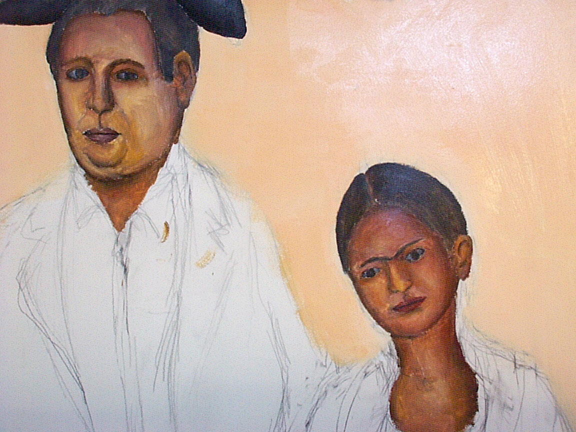 Early Diego Rivera and Frida Kahlo detail of Mex Restaurant Mural by Paul Dodd, in progress, 1999.