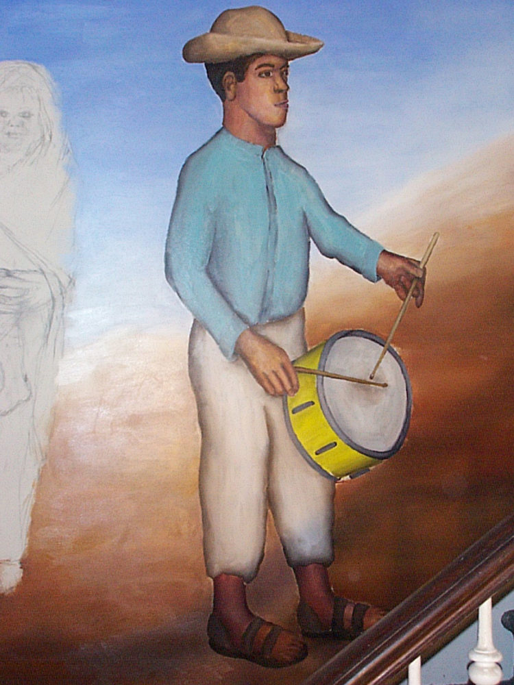 Drummers detail of Mex Restaurant Mural by Paul Dodd, in progress, 1999.