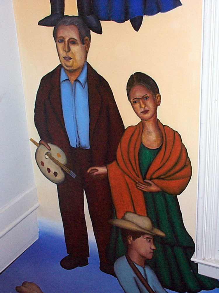 Diego Rivera and Frida Kahlo detail of Mex Restaurant Mural by Paul Dodd, in progress, 1999.